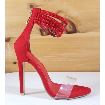 "So Me Red Vegan Suede Button Strap Stiletto Sandal - 4.5"" High Heel Shoes"