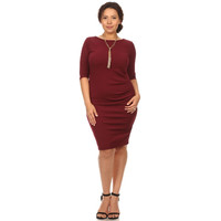Women's Maroon 3/4 Sleeves Solid Flair Dress Plus Sizes