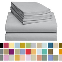 6 PC LuxClub Bamboo Sheet Set w/ 18 inch Deep Pockets - Eco Friendly, Wrinkle Free, Hypoallergentic, Antibacterial, Fade Resistant, Silky, Stronger & Softer than Cotton - Light Grey Queen