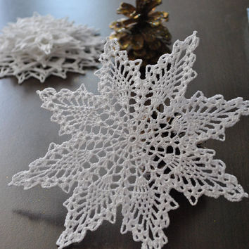 Crochet snowflakes,Christmas decorations,Large crochet snowflake,Wedding Gift,Crochet ornaments,SNOWCATCHER,DREAMCATCHER,Handmade ornaments