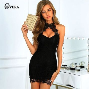 Ohvera Halter Eyelash Lace Dress Women Strapless Backless Sexy Party Dresses Mini Bodycon Summer Dress