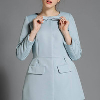 Long Sleeve Bow Neck Mini A-line Dress
