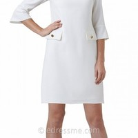 Three-Quarter Sleeve Pocket Detail Shift Day Dresses by Adrianna Papell