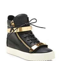 Birel Metal and Leather High-Top Sneakers