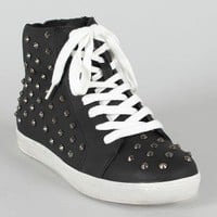 Wild Diva Lounge Fever-05 Spike Studded Lace Up Bootie