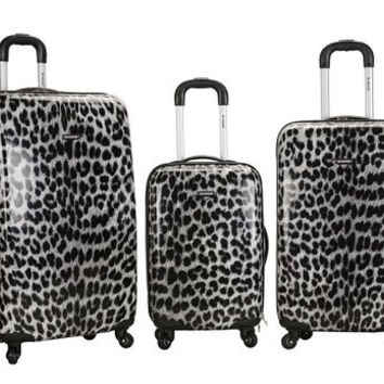 3Pc Snow Leopard Polycarbonate/Abs Upright  Luggage Set