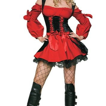 What A Wench Black Red Long Puff Sleeve Cold Shoulder Lace Up Corset Flare Mini Dress Halloween Costume