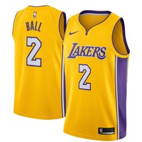 Lonzo Ball Los Angeles Lakers # 2 Nike Yellow Swingman Icon Edition Jersey - Best Deal Online