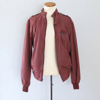 Members Only jacket - 80s vintage maroon burgundy brown windbreaker lightweight puffy cafe racer bomber long sleeve crew neck hipster