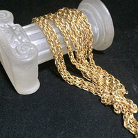 1970s Trifari Rope Chain Necklace, 52 Inches, Disco Fever, Wear Doubled, Layering Piece 318