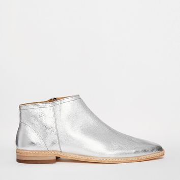 H by Hudson Shift Silver Leather Zip Ankle Boots