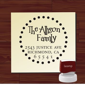Custom Personalized ROUND SELF INKING Return Address Rubber Stamp - style 1113 - cute wedding or christmas gift