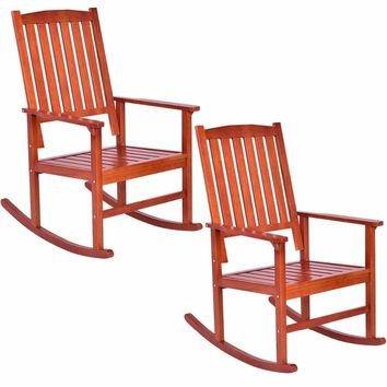 Giantex Set of 2 Wood Rocking Chair Porch Rocker Indoor Outdoor Patio Deck Furniture New Living Room Furniture HW56206