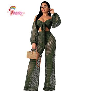 2019 Sexy Club Two Piece Set Women Clothes Fishnet Corp Top and Pants 2pcs Matching Sets See Through Summer Beach Outfits G