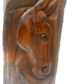 "Wood Carving Horse Head Natural Teak Wood Hand Carved Horse Head Rustic Driftwood Reclaimed Wall Hanging Home Art Decor / Gift 14.75""X7.5"""