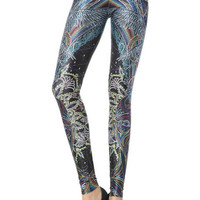 Retro Print Spandex Leggings