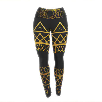 "Matt Eklund ""Gilded Sundial"" Gold Black Yoga Leggings"