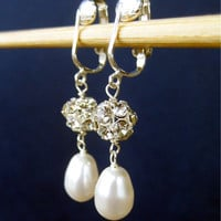 Bridal Clip On Earrings, White Pearl Teardrop Clipons, Rhinestone Ear Clips, Handmade, Mrs Sparkle