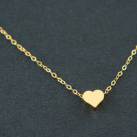 Gold tiny heart necklace, gold vermeil over sterling silver chain - gift, modern, casual, everyday, Valentine's day, anniversary