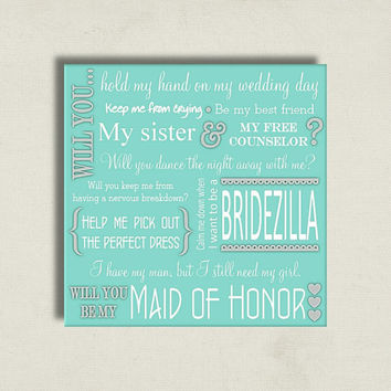 Will You Be My Maid of Honor Proposal Card Tiffany Blue