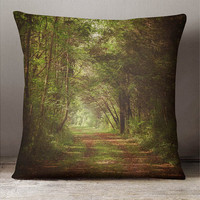 Rustic Forest Decorative Throw Pillow, Forest, Trail, Path, Brown, Green, Nature, Country, Home Decor 14x14 16x16 18x18 or 20x20