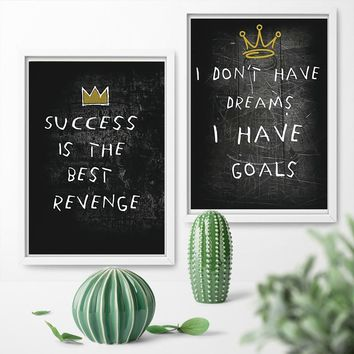 Black white Success Quotes Poster Inspirational Canvas Wall Art Iceberg Artwork Motivational Posters For Office and Home Decor