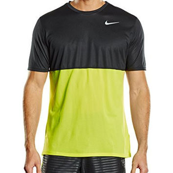 Nike Mens Dri-Fit Dry Short Sleeve Running Shirt, Volt/Black, XL, 644396 702
