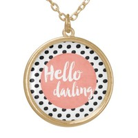 Hello Darling - Coral and dots Round Pendant Necklace