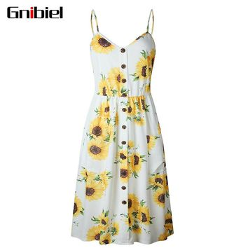 Women Sunflower Print Midi Dress Backless Casual Camisole Smocking Sexy Braces Floral Beach Sundress Boho Striped Daisy Party