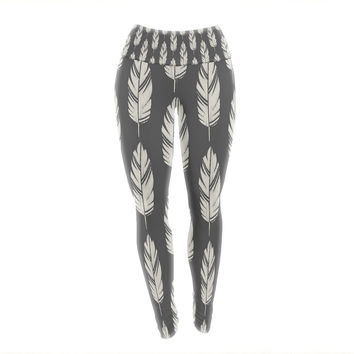 "Amanda Lane ""Feathers Black Cream"" Dark Pattern Yoga Leggings"