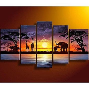 100% Hand Painted Oil Paintings Gift African Giraffe Elephant