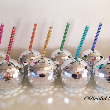 Bridesmaid Cups Gift Bachelorette Party Cup w/ Custom Personalized Crystal Straw Birthday Disco Ball Club Cup Plastic Tumbler Rhinestone Set