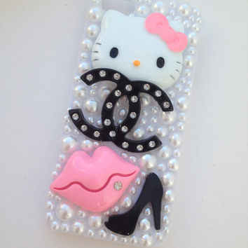Pink & Black Hello Kitty Sparkly Crystallised Bling iPhone 5 Protective DIY Cell Phone Case Cover