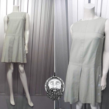 Vintage 60s LOUIS FERAUD Duck Egg Blue Minimalist Dress Space Age Grey Mod Dress Shift Dress Drop Waist Worsted Wool 1960s Dollybird A Line