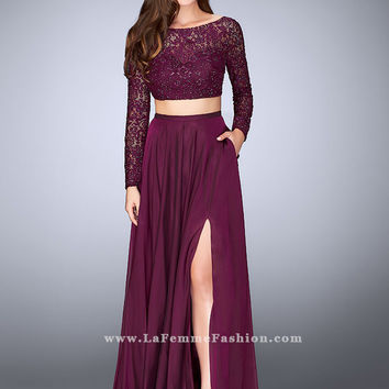 La Femme 23937 Lace Crop Top Formal Prom Dress