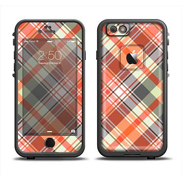 The Gray & Bright Orange Plaid Layered Pattern V5 Apple iPhone 6 LifeProof Fre Case Skin Set
