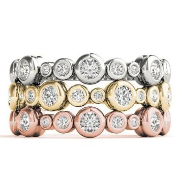 Stackables 3/4 Eternity Tri-Tone Gold Rounded Full Bezel Diamond 3-Band Set