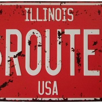 ERLOOD ILLINOTS Route 66 Retro Vintage Auto License Plate Tin Sign Embossed Tag Size Home Pub Bar Decor 6 X 12