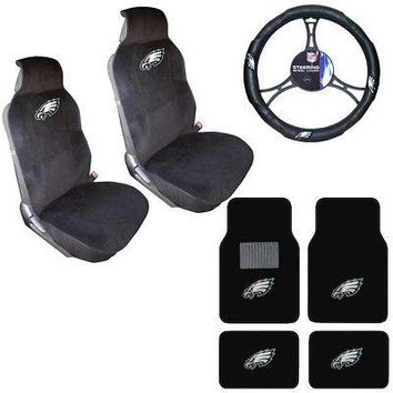 Licensed Official NFL Philadelphia Eagles Car Truck Seat Covers Steering Wheel Cover & Floor Mats