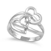 Interlocking Twin Heart Sterling Silver Ring