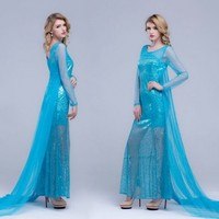 Shop Fashion Blue Women's Sequins Long Sleeves Plus Size Party Dress KF40 Wholesale in lover fashion