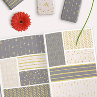 Gray and Gold Digital Paper Pack. Seamless patterns gold foil arrows, stripes and more for scrapbooking, backgrounds, making cards etc.