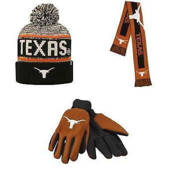 Licensed Texas Longhorns Grip Work Glove Big Logo Scarf And Acid Rain Beanie Hat 28720 KO_19_1