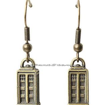 "Licensed cool NEW BBC TV Doctor Who Dr Burnished Gold TARDIS Drop 1/2"" Charm Pierced Earrings"