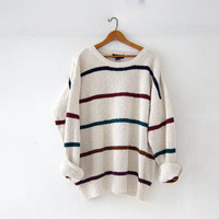 vintage striped sweater. slouchy oversized sweater. boyfriend sweater. cream white cotton sweater