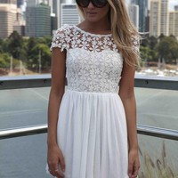 White Round Neck Crochet Skater Dress