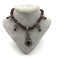 Vintage Garnet Marcasite Art Deco Sterling Silver Necklace
