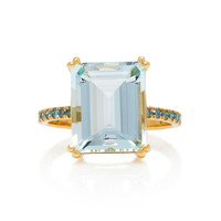18K Aquamarine And Blue Diamond Ring | Moda Operandi