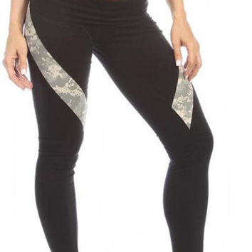 Sexy Hi Lo Waist Universal Camo Pattern Military Work Out Pants - Black/Green
