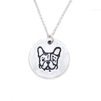 Hand Stamped French Bulldog Coin Pendant Necklace in Silver | Animal Jewelry